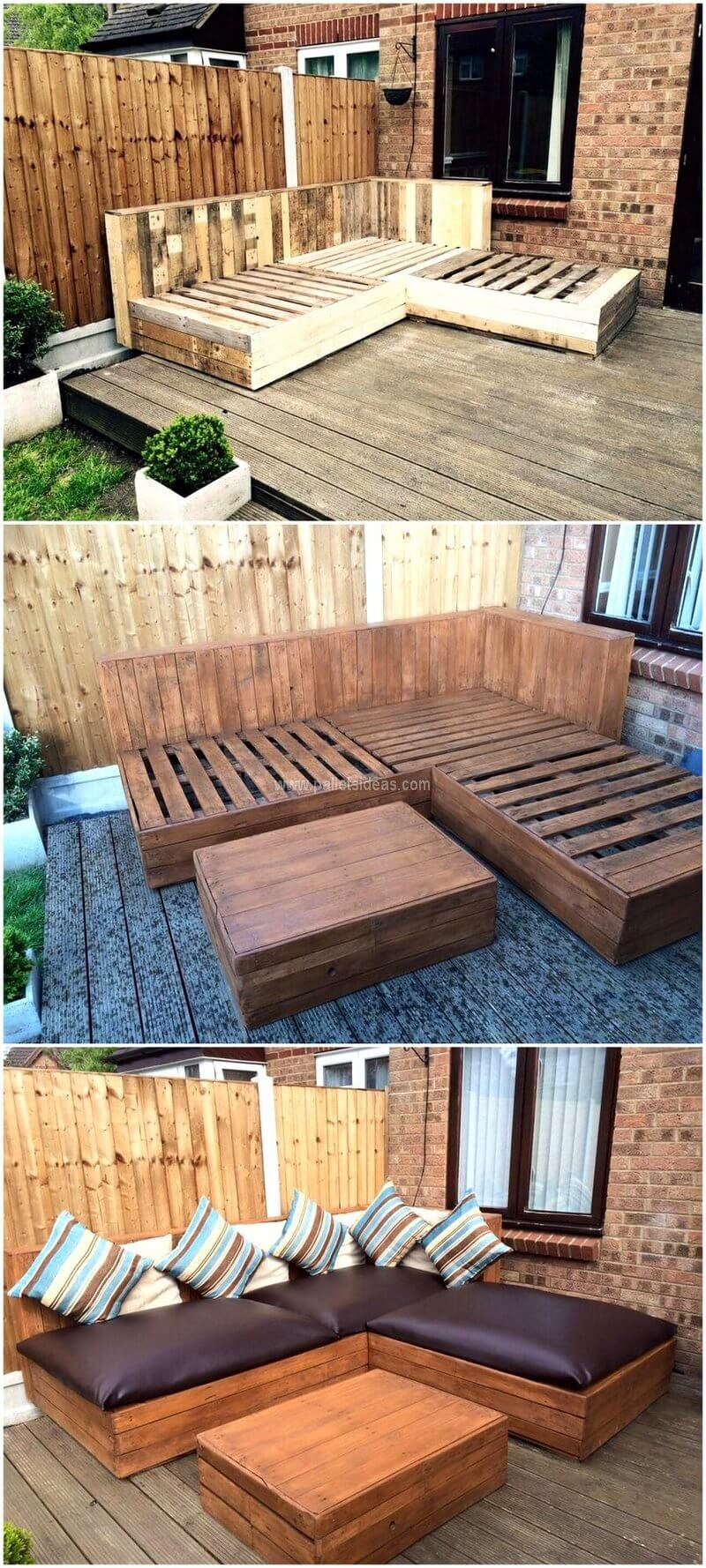 This Is Basically A Visual Tutorial For You To Understand How To Work To Make A Stylish And Attractive Corner Pallet Diy Diy Pallet Projects Corner Sofa Garden