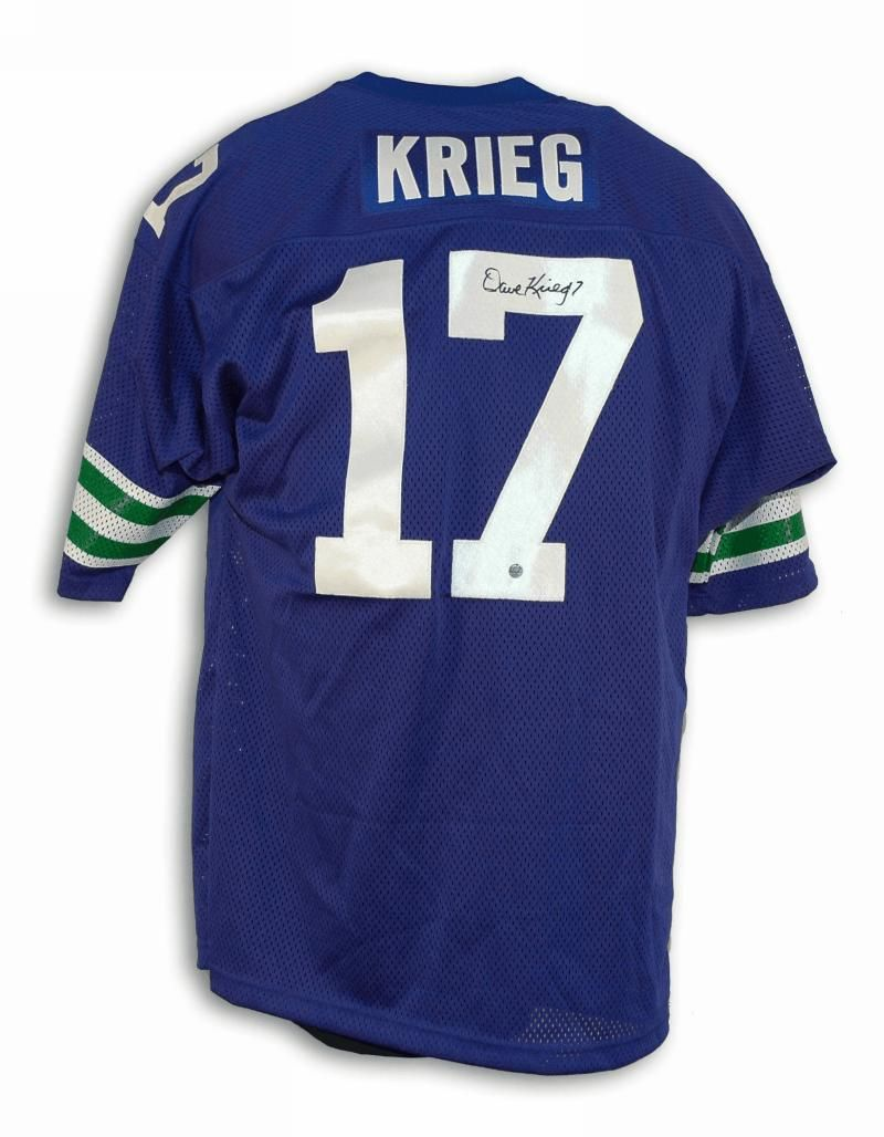 sale retailer 8f540 e7fc1 Dave Krieg Seahawks Throwback Jersey | Autographed Dave ...