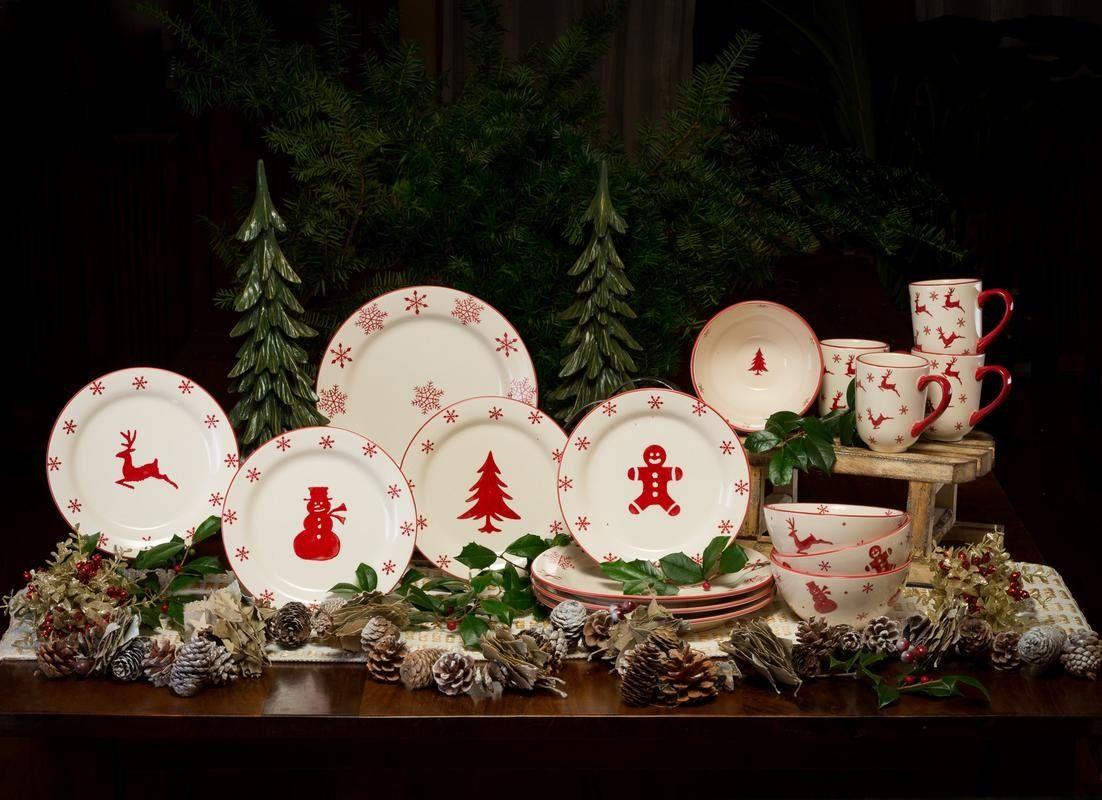 Winterfest 16 Piece Earthenware Dinnerware Set Service For 4 Christmas Dinnerware Dinnerware Set Dinnerware Sets