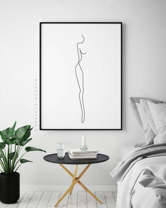 Photo of Abstrait figure féminine simple ligne imprimable, profil art corporel femme nue minimaliste, impressions nues, affiche illustration, fine impression numérique