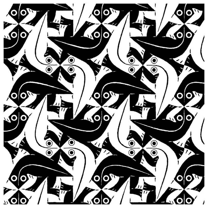 mc escher tessellations black and white
