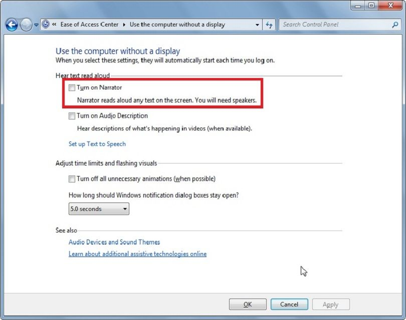 How To Turn Off Microsoft Narrator Narrator Software Support Turn Ons
