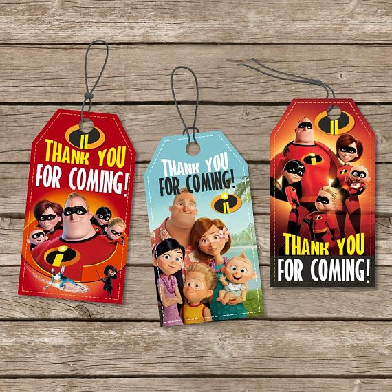 Instant Download The Incredibles Birthday Tags, Printable