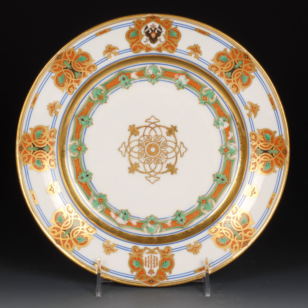 Set of Six Russian Imperial Porcelain Factory Grand Duke Konstantin Service Plates | John Atzbach Antiques & Set of Six Russian Imperial Porcelain Factory Grand Duke Konstantin ...