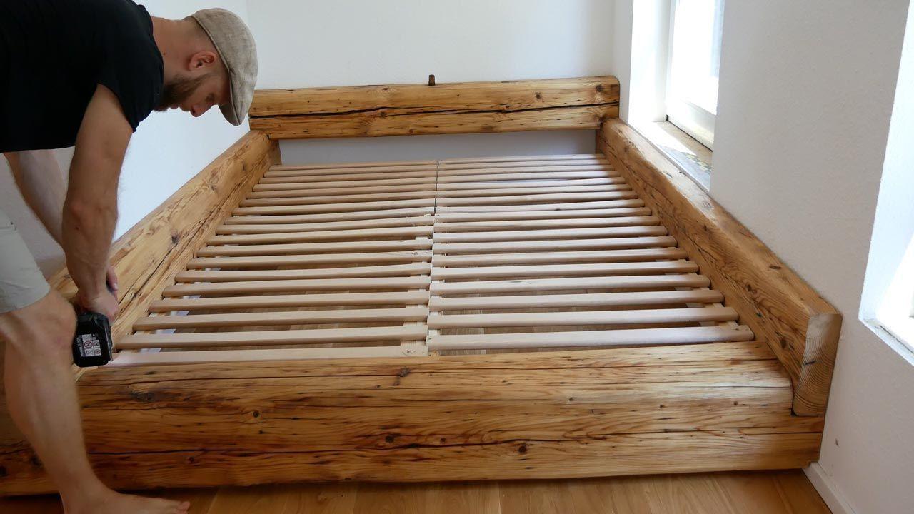 Balkenbett Bett Selber Bauen Made By Myself Dein Diy Heimwerker Blog B In 2020 Bett Selber Bauen Bett Bauen Holzbett Selber Bauen