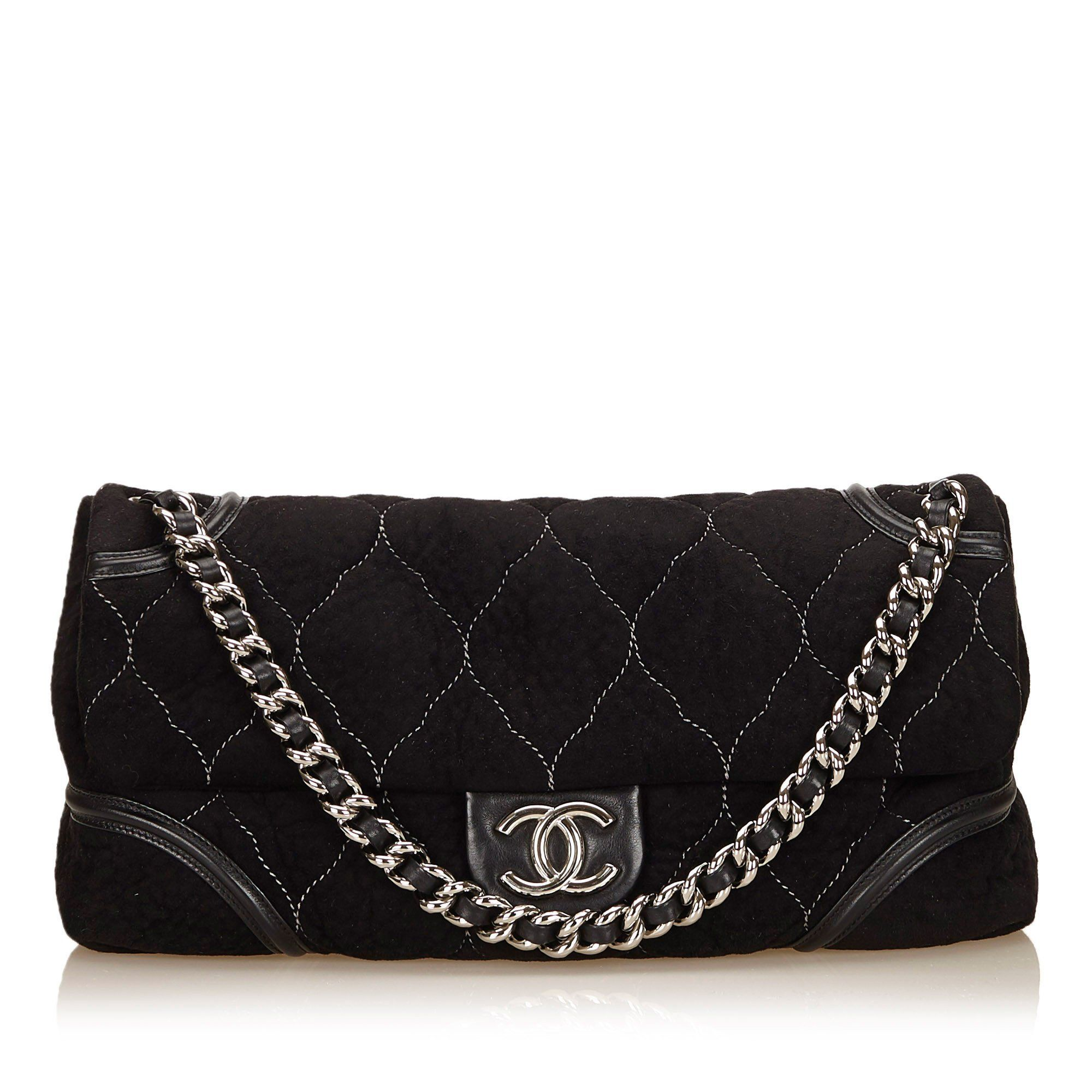 2b52639bc0a12 CHANEL LARGE BLACK SUEDE FLAP BAG WITH WHITE STITCHING