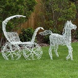 Lighted Horse And Carriage Yard Art