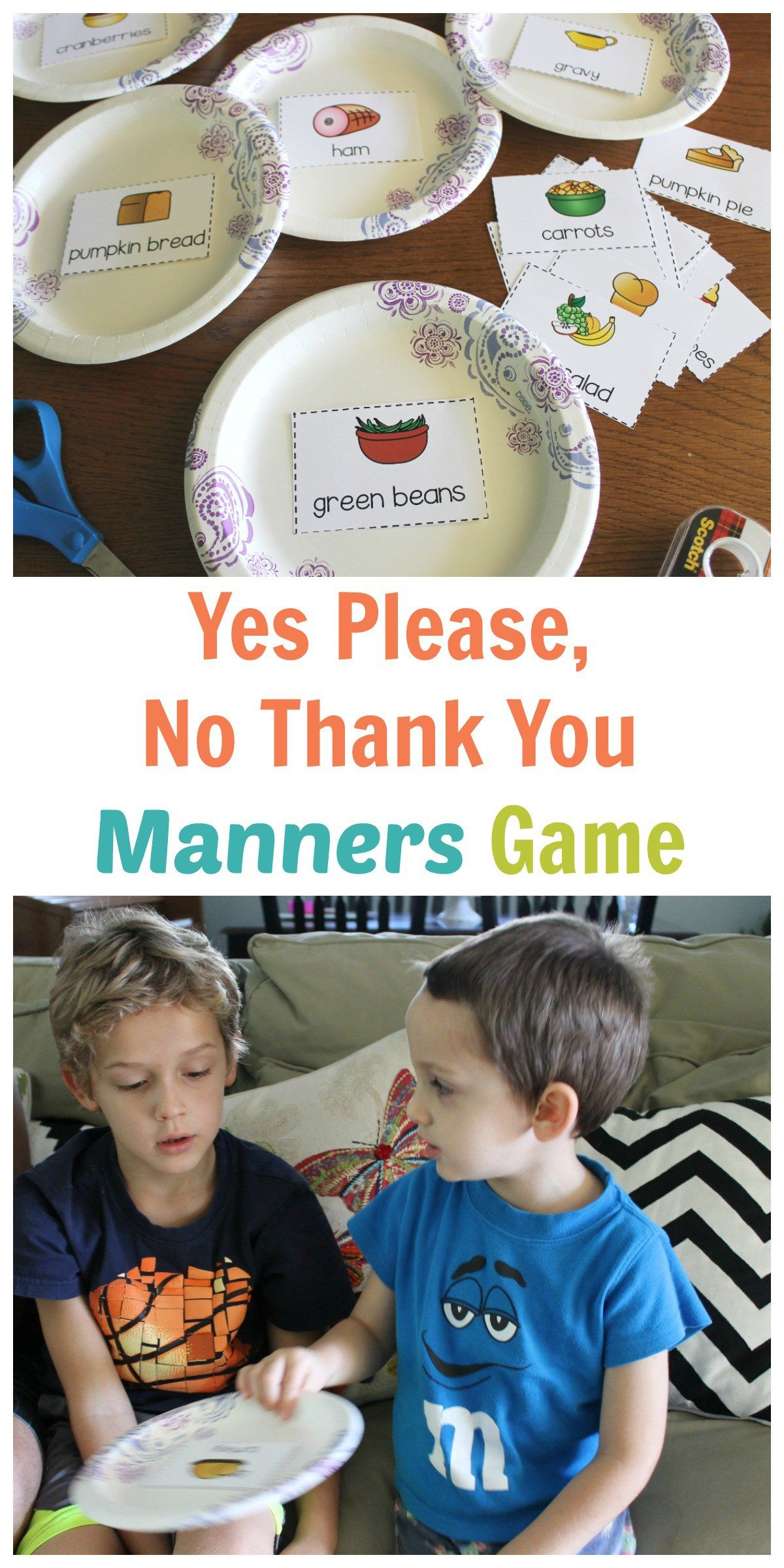 Yes Please No Thank You Holiday Meal Manners Game