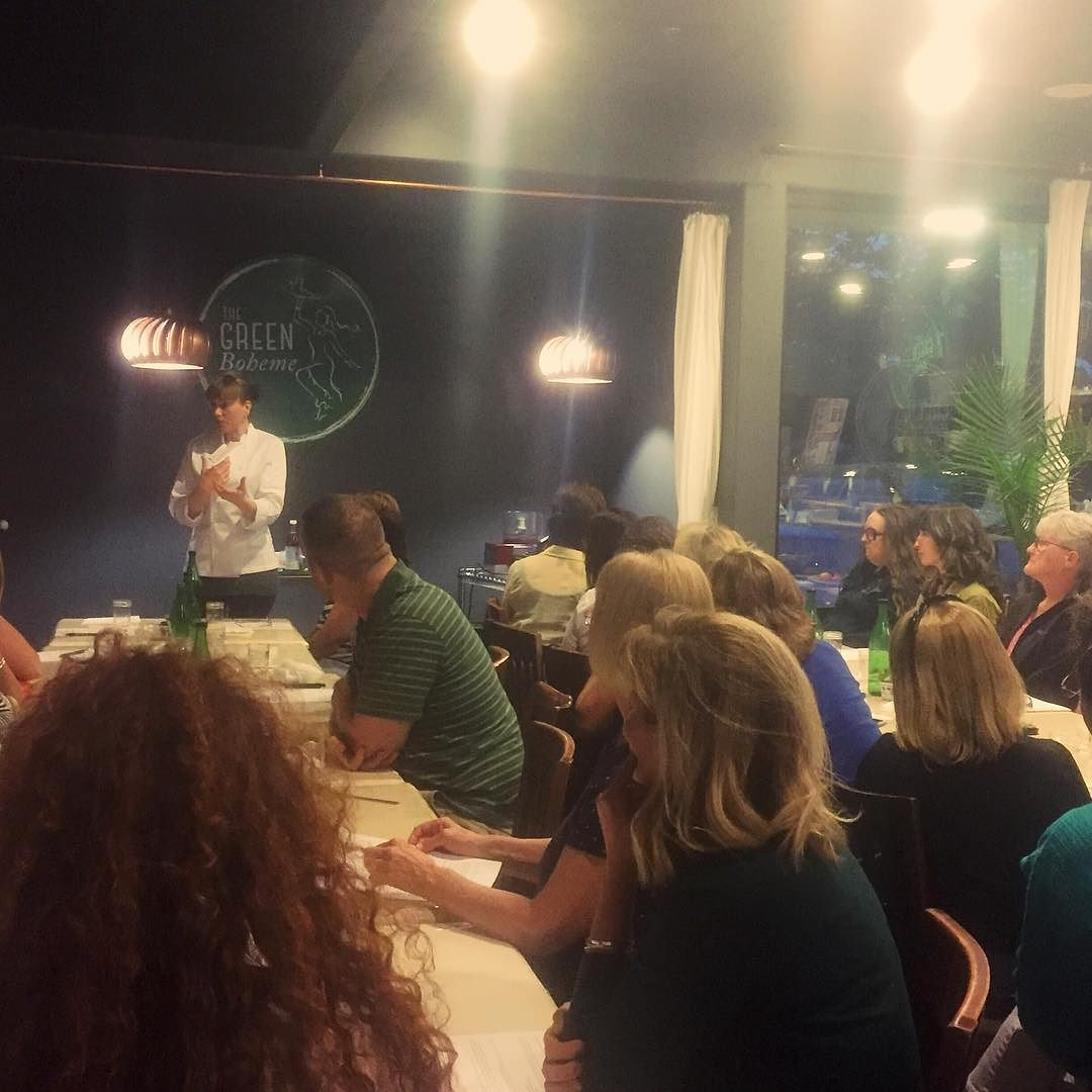 via @thegreenboheme: We have a full house at tonight's Dine and Demo! Want to explore raw with us? Join us next Monday night as we are diving into Brunch Foods for Mother's Day  Bring your mom and dine with us! #realhumanfood #dineanddemo