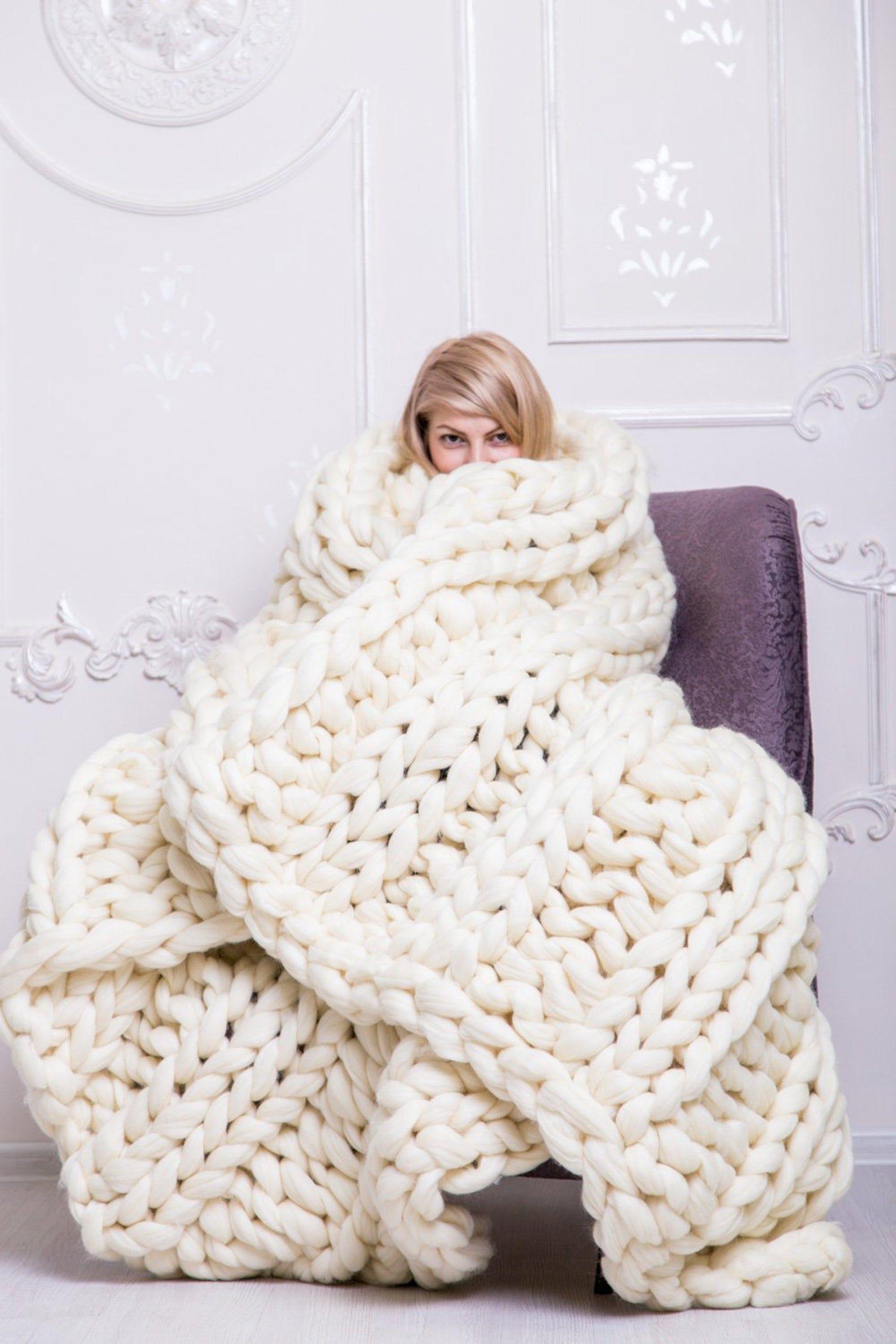 Chunky Knit Blanket Chunky Blanket Knitted Blanket Wool Blanket