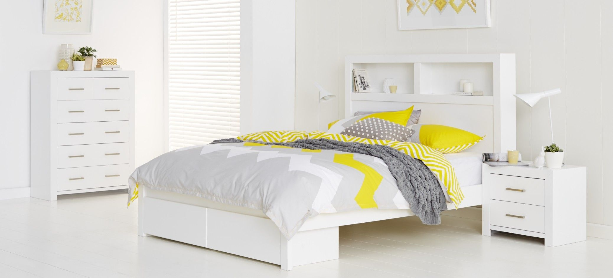 Carla Bedroom Furniture - High gloss white finish bed, includes two ...