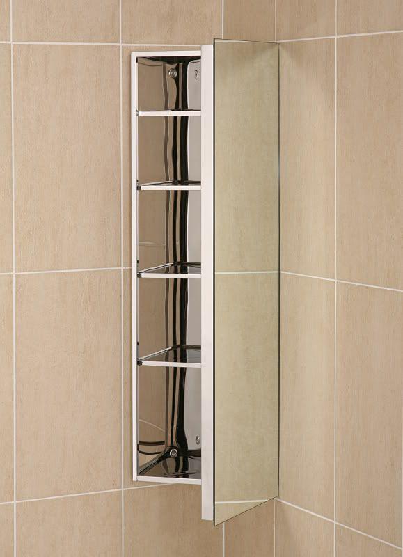 Ebay Deluxe Stainless Steel Mirrored Corner Bathroom Cabinet With Deep Utility Door 114 8 Shipping 5 Shelves Bathroom Corner Cabinet Bathroom Mirror Door