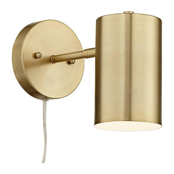 360 Lighting Modern Wall Lamp Polished Brass Plug-In Light ...