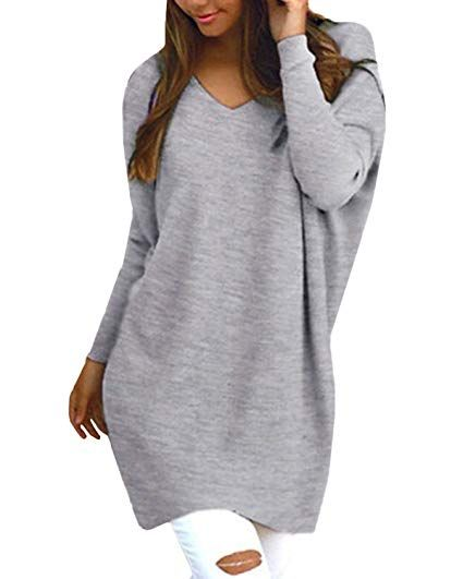 best sneakers 58ef8 df9eb StyleDome Women's V Neck Long Sleeve Solid Pattern Casual ...