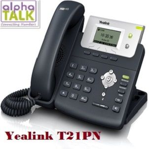 """Alphatalk handset """"Yealink T21PN"""" is an entry-level IP phone, with a large 132 x 64 pixel graphical LCD display showing 5-lines of clear data which offers a smooth user experience. The T21PN contain dual 10/100 Mbps network ports with integrated PoE, ideal for extended network use. This handset is very cost-effective and powerful IP solution, which helps to maximise productivity in both small and large office surroundings."""