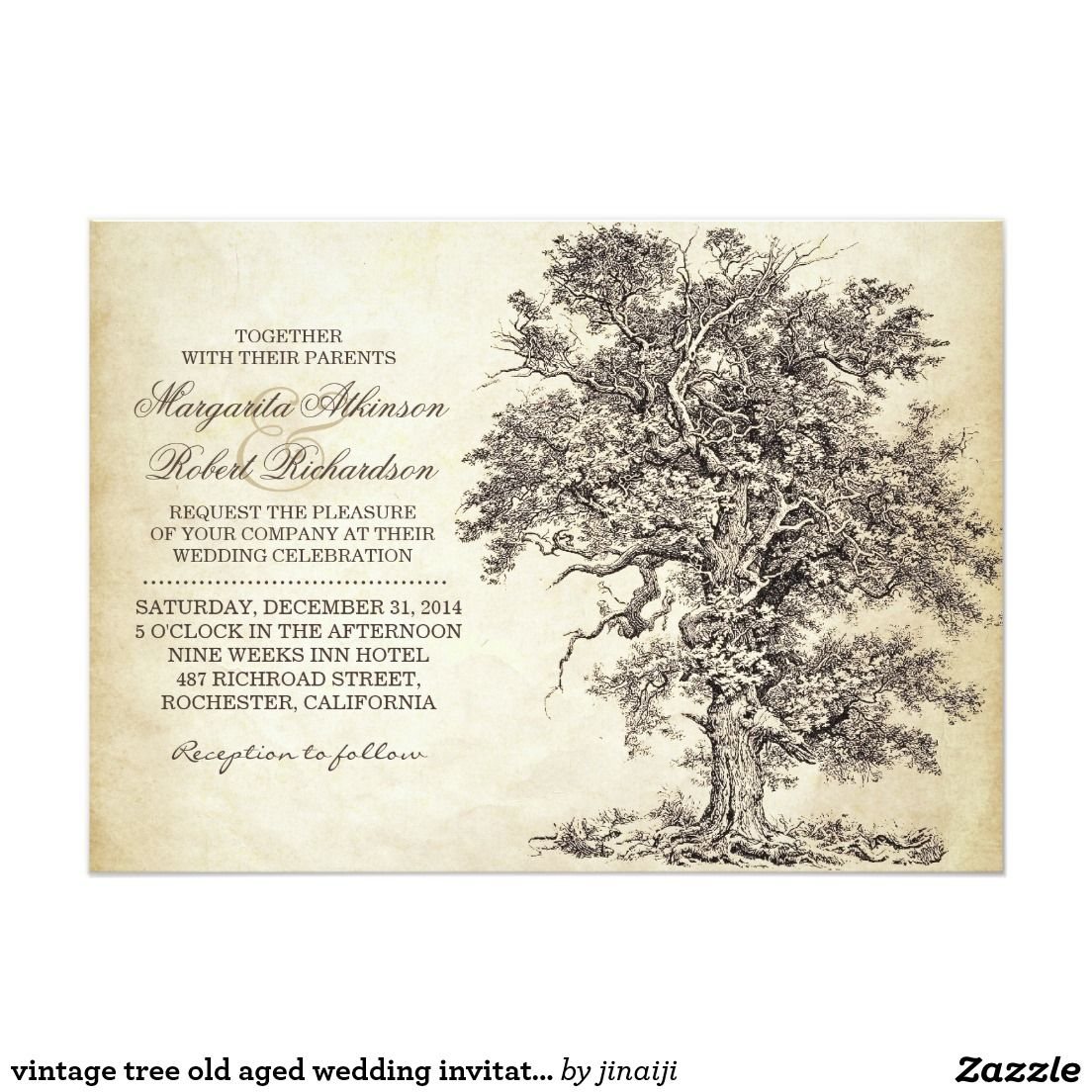 Vintage tree old aged wedding invitations wedding and wedding vintage tree old aged wedding invitations stopboris Gallery