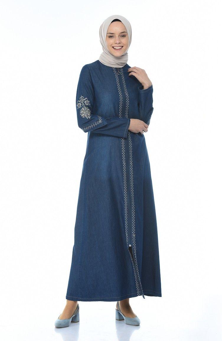 عباية سحاب طويل تطريزة ناعمة على الصدر والاكمام لون كحلي Lucy Trends Fashion High Neck Dress Embroidered Jeans