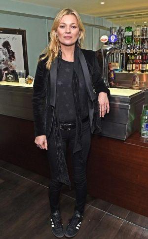 Kate Moss wearing Saint Laurent Star Print Shirt and Adidas Originals Samba Leather Sneakers