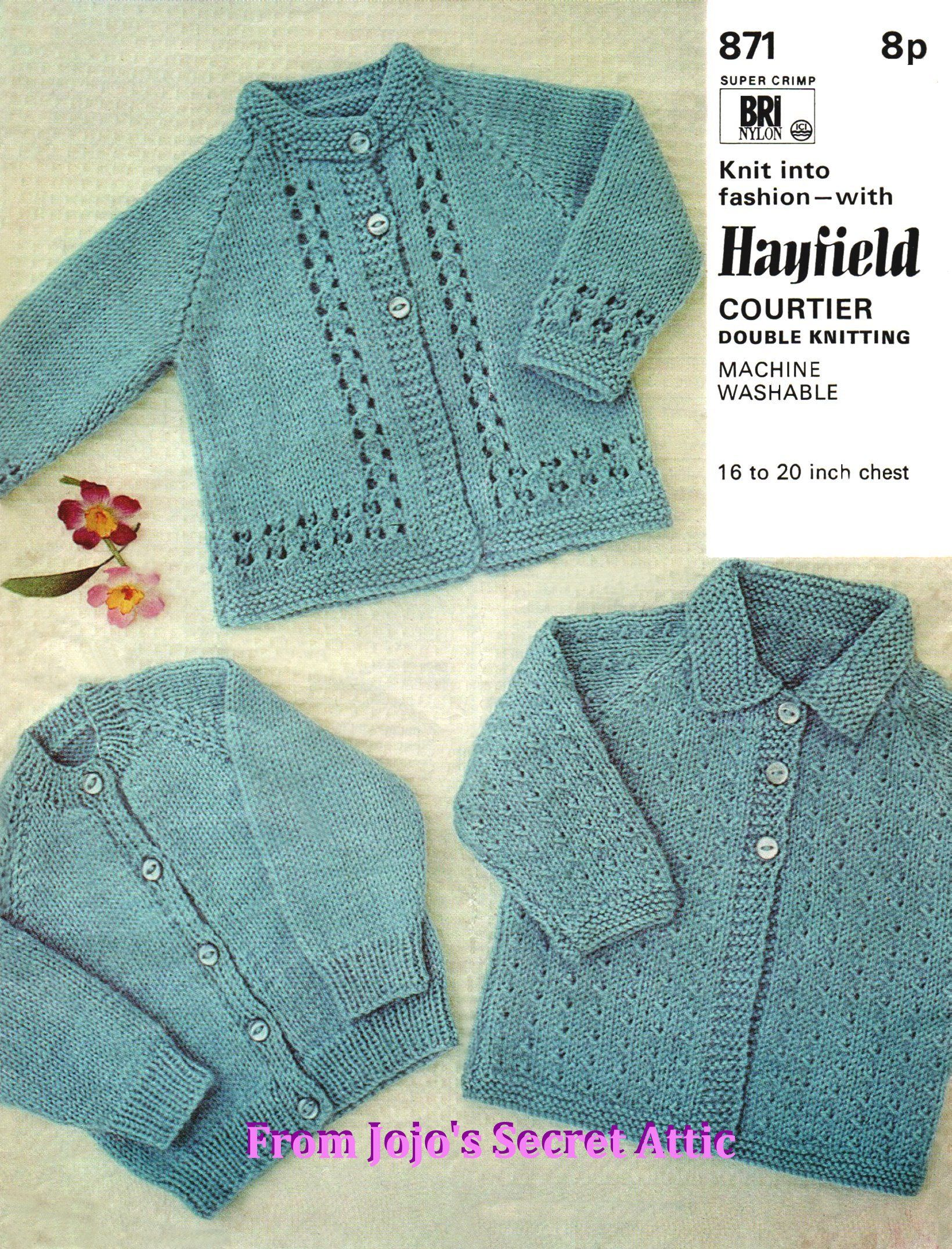 Vintage Hayfield Double Knitting Pattern 3 styles of cardigan PDF ...