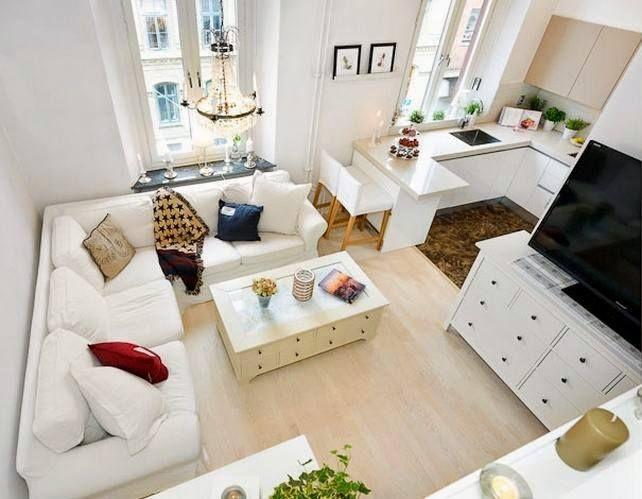 tiny house living room and kitchen. piccolo appartamento: soggiorno ...