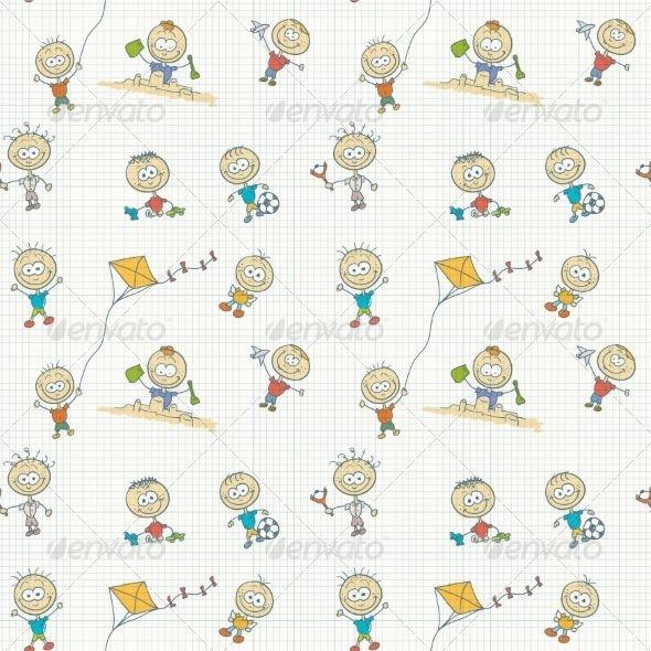 Children Play Seamless Wallpaper