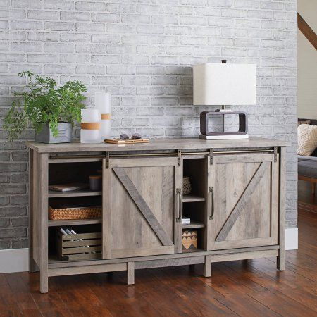 Better Homes And Gardens Modern Farmhouse Tv Stand For Tvs Up To 60 Rustic Gray Finish Image 4