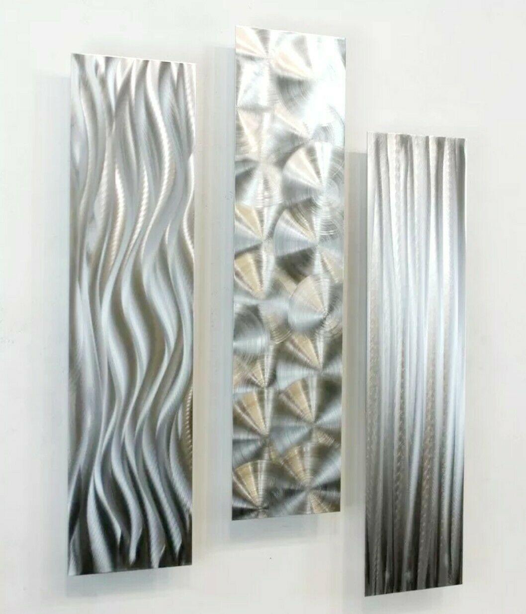Dynamic Metal Wall Art 3 Panels Modern Silver Accent Decor Original Jon Allen In 2020 Metal Sculpture Wall Art Contemporary Metal Wall Art Silver Wall Art