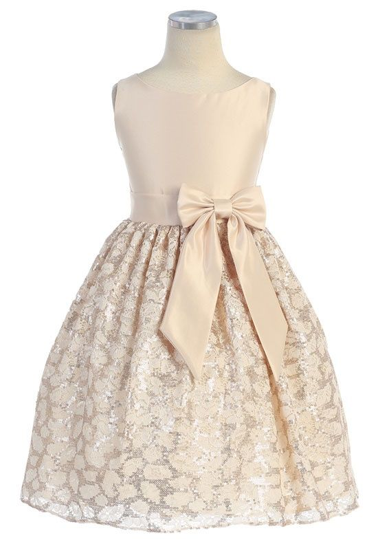 Silver & Gold Satin & Lace A-Line Flower Girl Dress From Kids ...