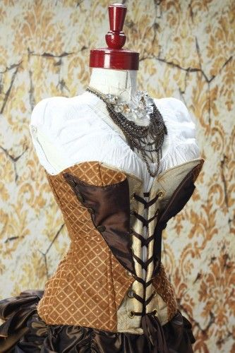 Brown Lapel Steampunk Overbust Corset  - LOVE Damsel in This Dress SOOOO much!