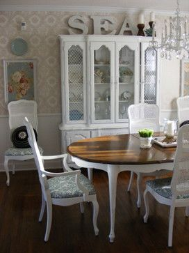 French Country Dining Room  Cane Back Chairs & Hutch Painted Classy French Country Dining Room Chairs Design Ideas