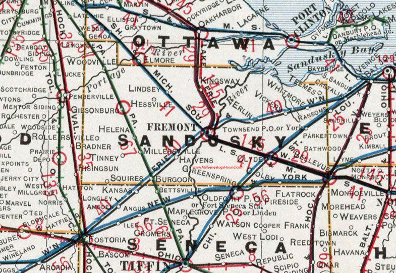 Sandusky County Ohio 1901 Map Fremont Helena Gibsonburg