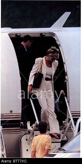 Princess Diana Arriving At Cannes Airport For The Start Of A Holiday AIRCRAFT NINETIES ROYAL HOLIDAYS BRITISH ROYALTY FEMALE