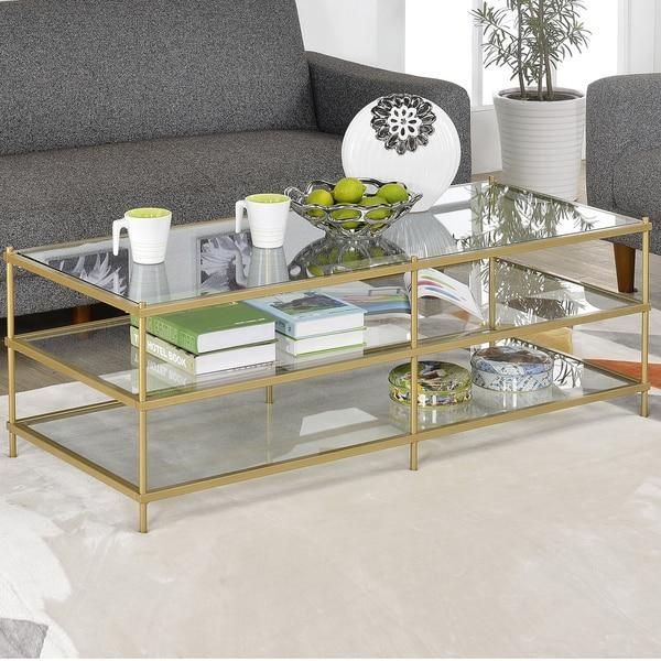 simple 3 layer gold glass coffee table | décor salon | pinterest