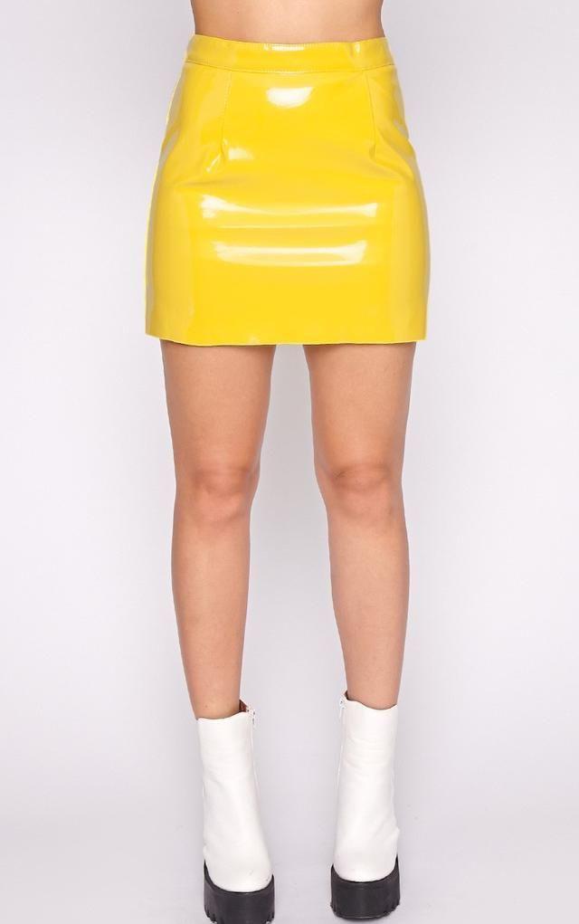 1a938f020d0 Daphne Yellow PVC Mini Skirt by Pretty Little Thing