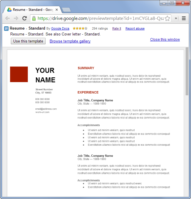 Google Drive Resume Templates - http://www.jobresume.website ...