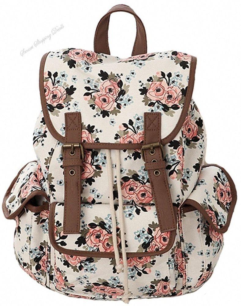 Canvas School Bookbag For Girls College Backpack Student Backpacks Travel  Bag  CanvasSchoolBookbag caf805af1d