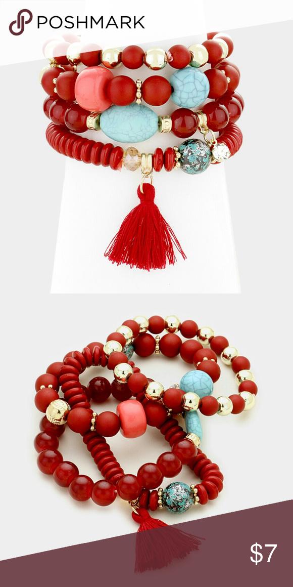 """4 PCs Tassel Charm Beaded Stretch Bracelets Style No : 333021 Color : Red Theme : Tassel  Bracelet Size : 1.75"""" H Charm Size : 1.25"""" H Stretchable 4 PCS - Tassel charm beaded stretch bracelets Jewelry Bracelets"""