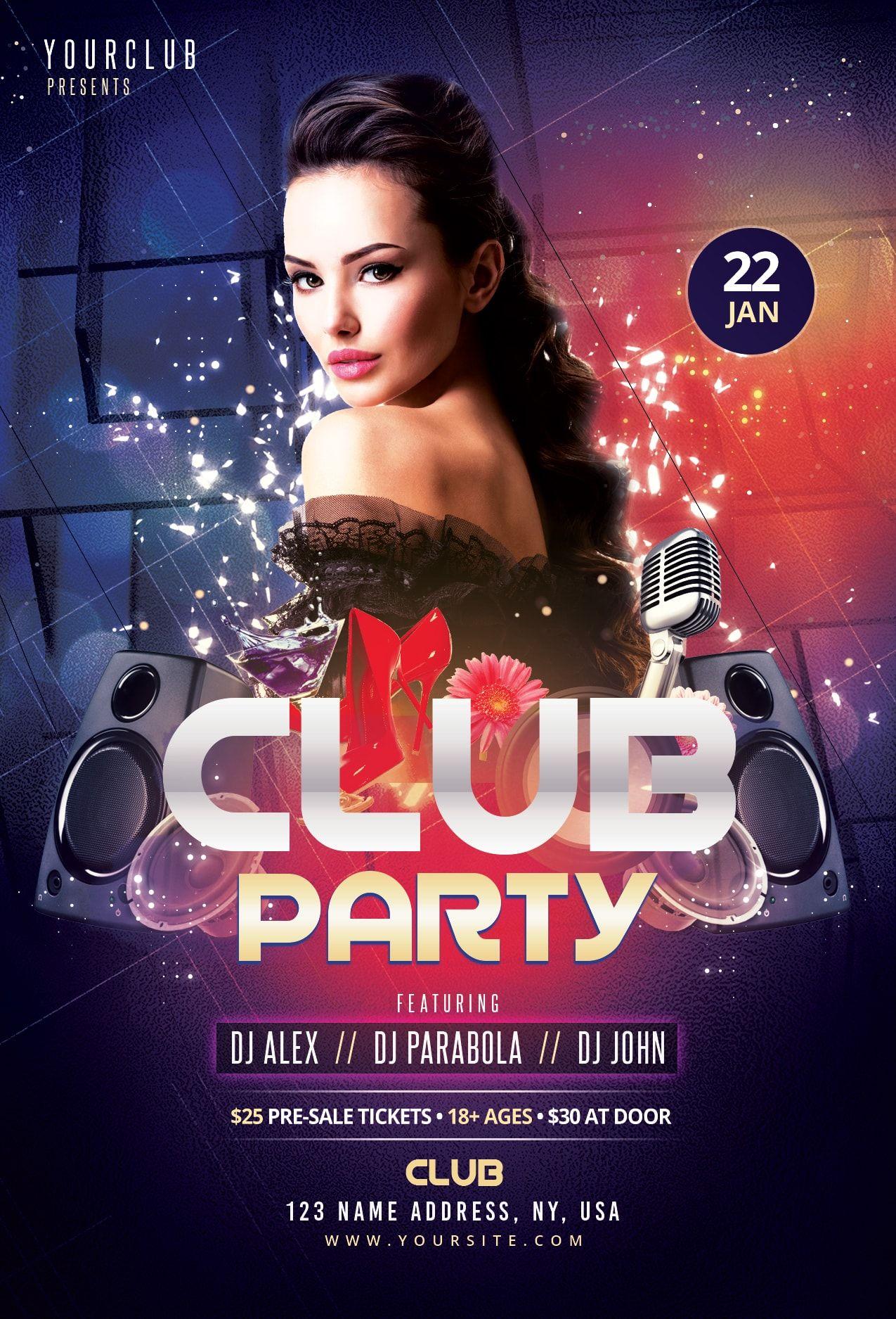 Club Party Freebie Flyer Template Free flyer