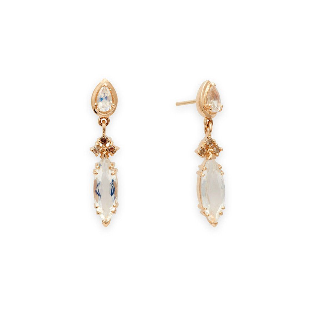 Eleonore Marquise Stud Earrings  Yellow Gold & Rainbow Moonstone