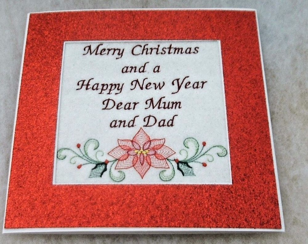 completed handmade embroidered Christmas Card Merry Christmas Mum ...