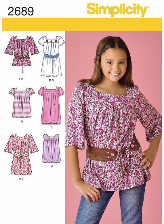 1a45eec480b Girls' Easy Dress Pattern Tween Girls' Tunic Top by blue510 ...