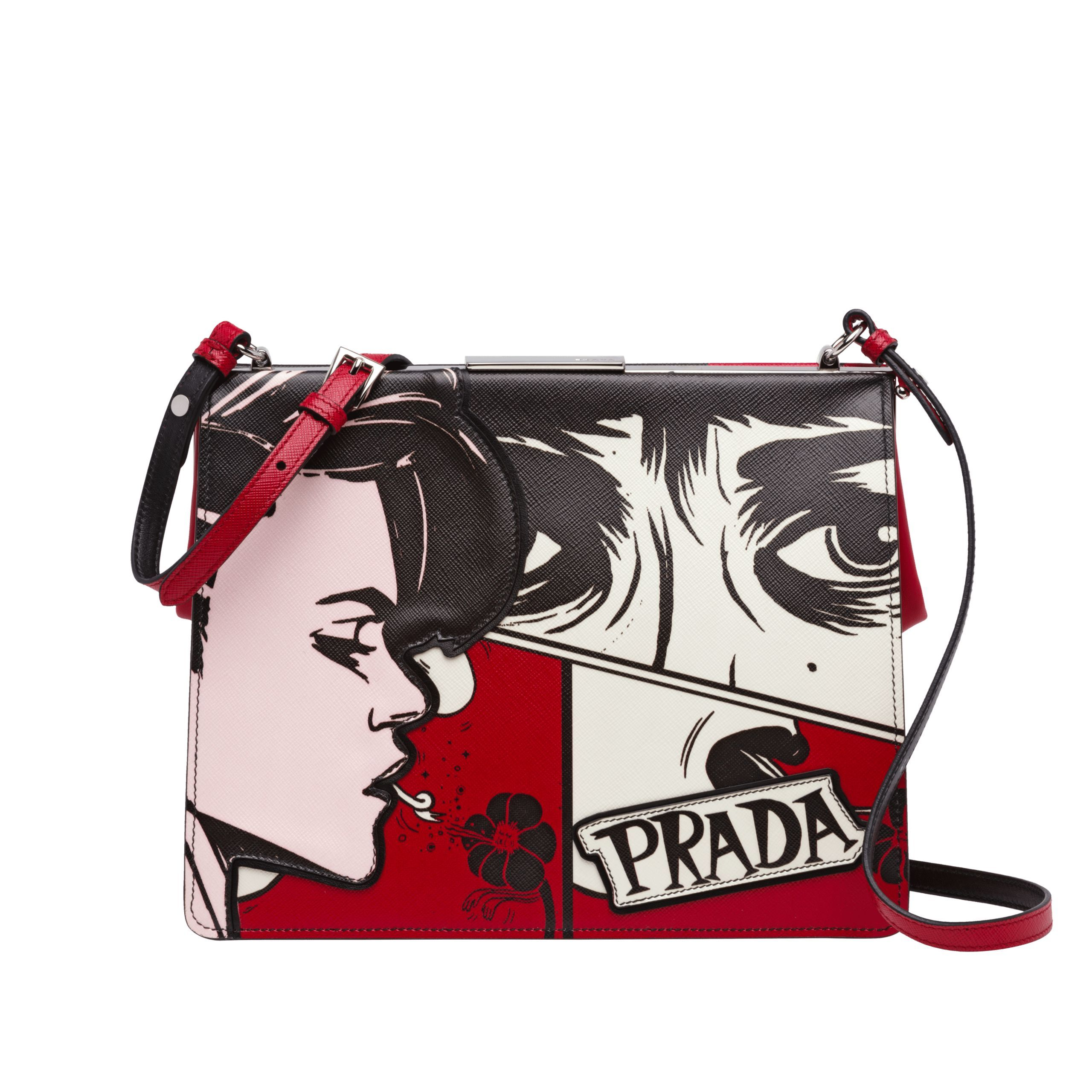 5720072b422f35 Prada | Light Frame Printed Leather Bag | $2,400 | Characterized by the  distinctive metal spring hinge frame, the Saffiano leather Prada Light  Frame bag is ...