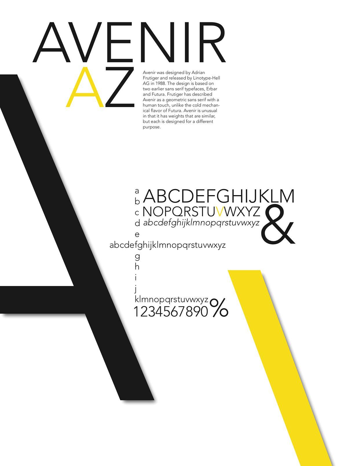 Avenir Sans-serif Grotesque 1988 Adrian Frutiger Poster by Brett Jacobsen