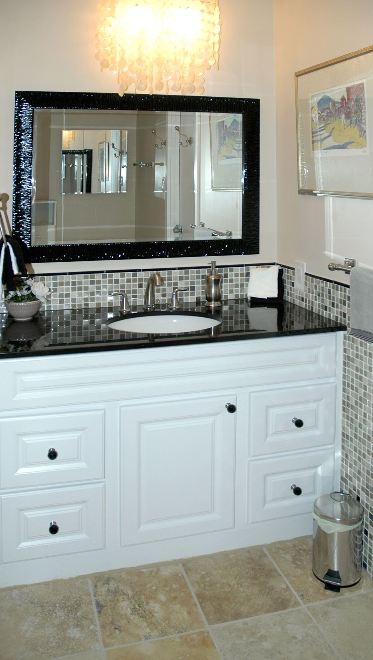 Glass/marble/stainless mosaic tile, white vanity with black granite ...