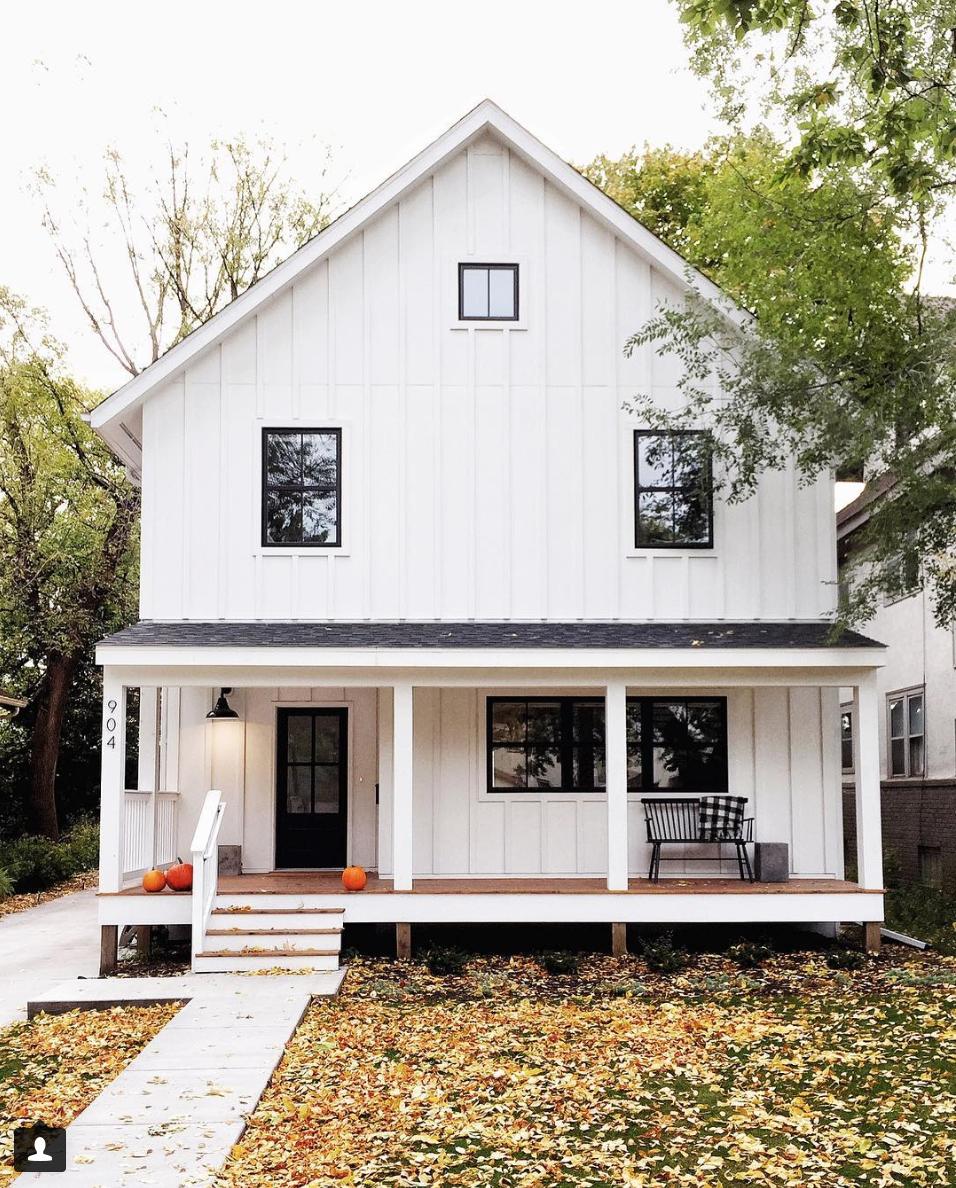 10 Stunning Home Exteriors With Board And Batten Siding Brick Exterior House Modern Farmhouse Plans Modern Farmhouse Design