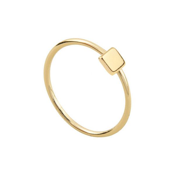 Tiny square gold ring ($19) ❤ liked on Polyvore featuring jewelry, rings, gold jewelry, square ring, gold jewellery, yellow gold jewelry and yellow gold rings