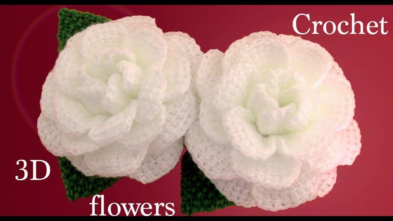 Como hacer flores en 3D Camelias a Crochet con hojas tejido ...