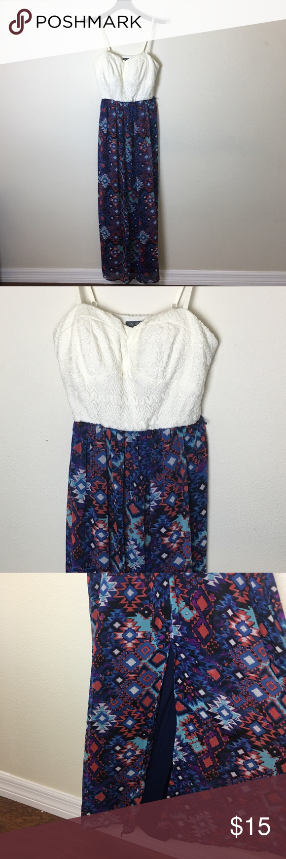 2fe474afb52dbd Lily Rose maxi dress spaghetti straps size XL Lily rose brand Size XL Lace  top with spaghetti straps Bottom is colorful with a beautiful pattern Lily  Rose ...