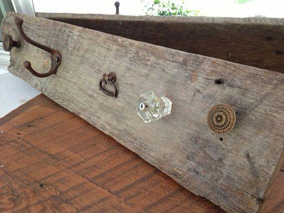 Hanging rustic wood wall organizer Driftwood wall decor dog leash