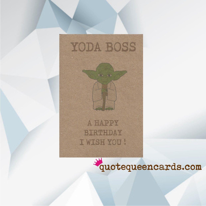 Starwars Birthday Card For Boss More Designs At Quote Queen Etsy Starwars Birthday Card Birthday Card For Boss Birthday Cards